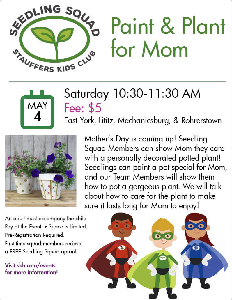 seedling squad mothers day event poster